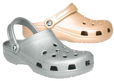 Crocs i guld och silver