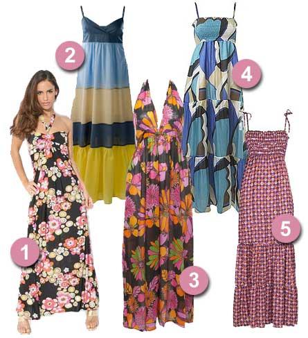 Färgglada långklänningar
