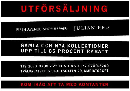 Utförsäljning: Julian Red & Fifth Avenue Shoe Repair