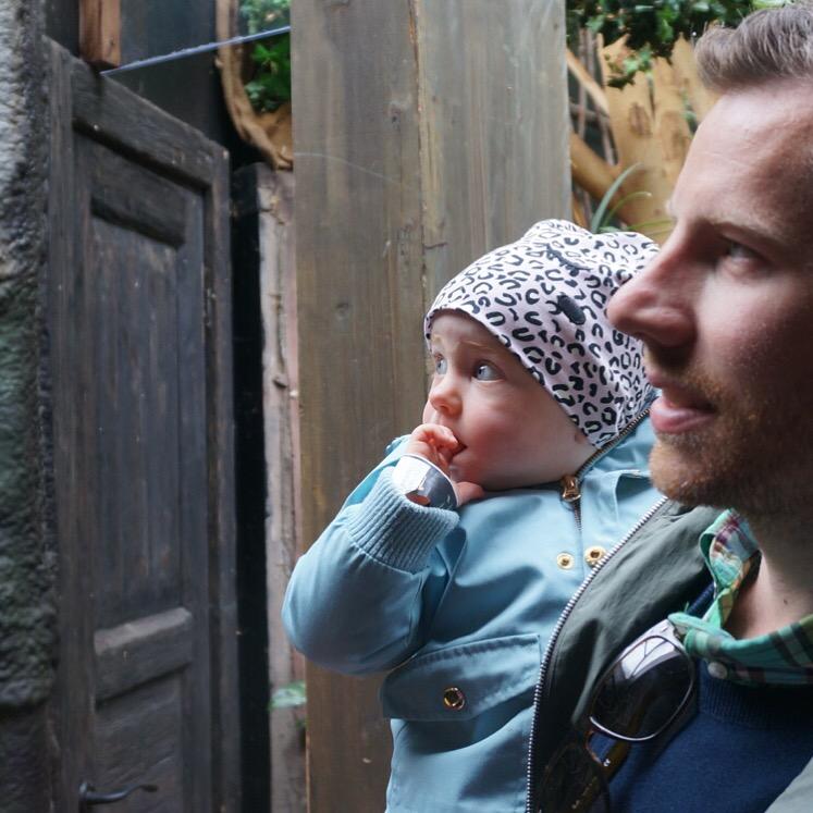 Ella tittar på apor