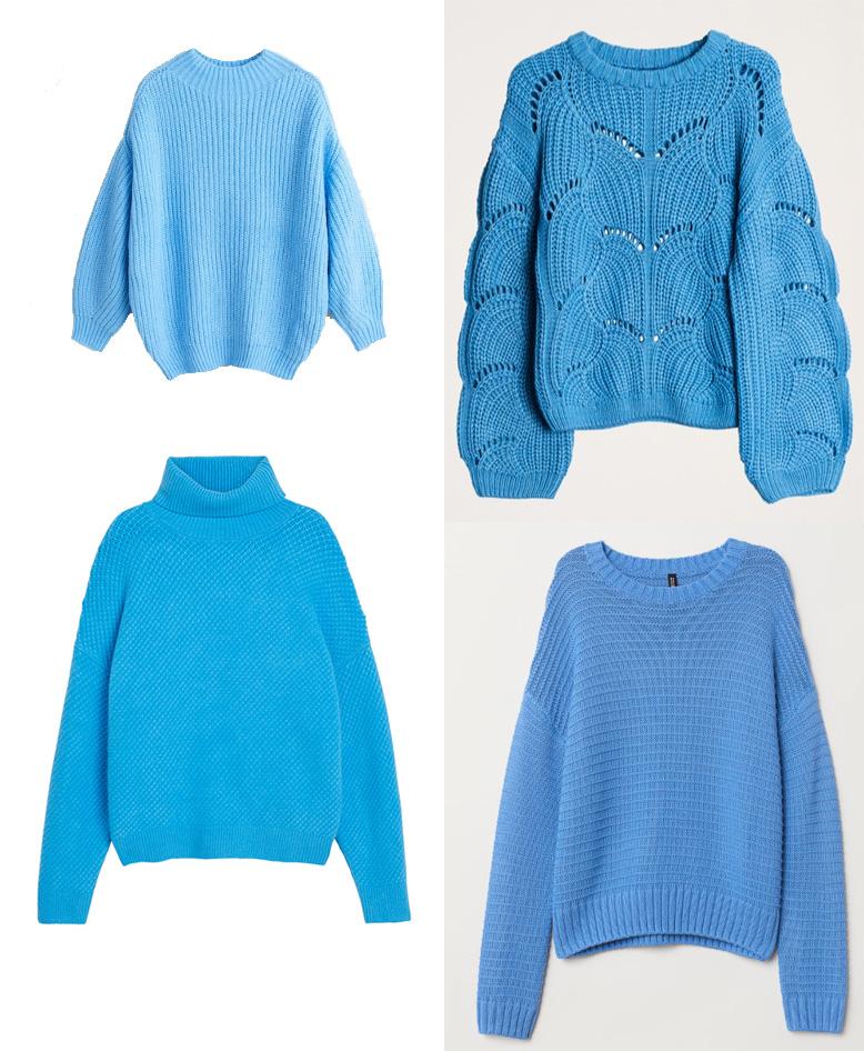 blå stickade tröjor